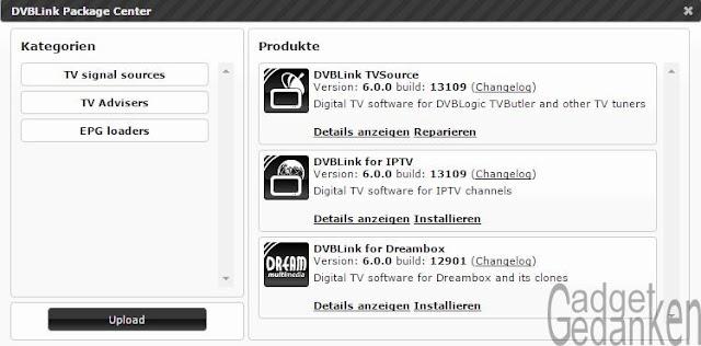 Screenshot: DVBLink Zusatzpakete installieren