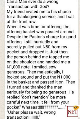 What would you do? Read this wrong transaction someone had with God