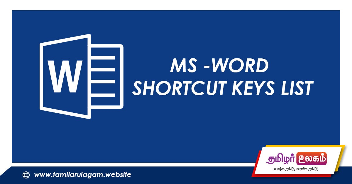 MICRSOFT WORD SHORTCUTS KEY LIST - Tamilarulagam,Mathematics