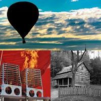 casa velha, sombra de balão no céu e maçarico aceso