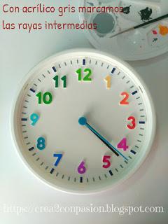 Base-reloj-ikea-decorado-con-pinturas-acrílicas-en-segundos-y-sharpie-reloj-primaveral-para-aprender-las-horas-Crea2conPasión-rotuladores-Sharpie-y-pinturas-acrilicas