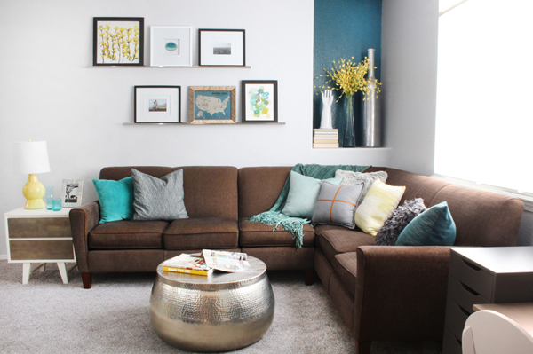 Family Room Makeover Brown Couch Gray Carpet Yellow Teal