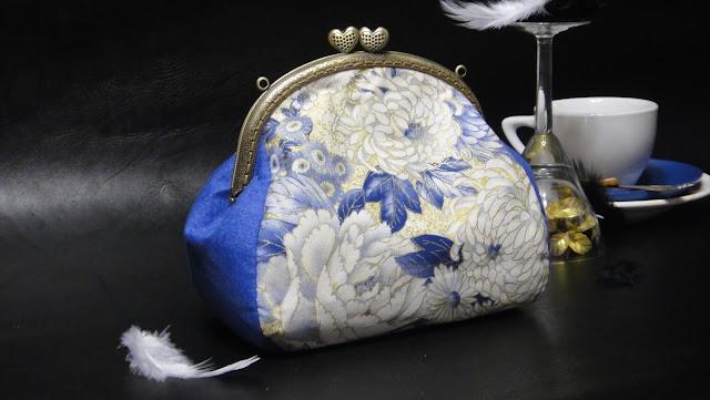 Синяя сумочка для девушки - косметичка с фермуаром, сумочка с фермуаром
