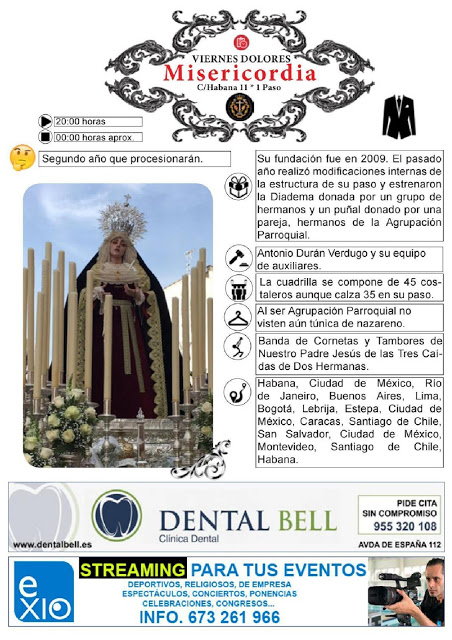 Horarios e Itinerarios Viernes de Dolores Semana Santa Dos Hermanas (Sevilla) 2019