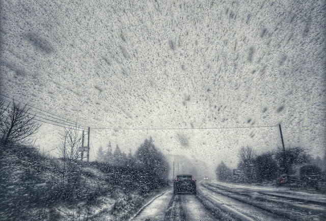 driving in a blizzard, Storm Emma