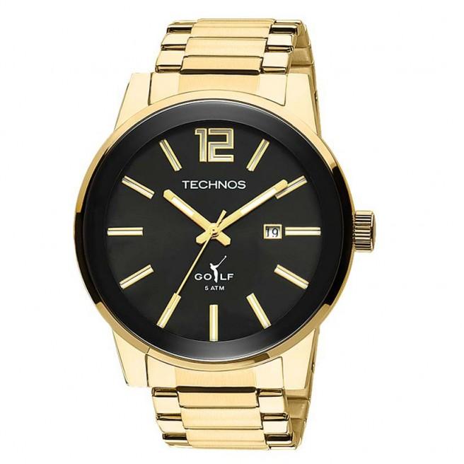 7a36fcf4b9e24 Relógio Analógico Masculino modelo Classic Golf, com alimentação à bateria,  Pulseira Dourada de Aço, Caixa Dourada, Fundo do Visor preto, com diâmetro  de ...