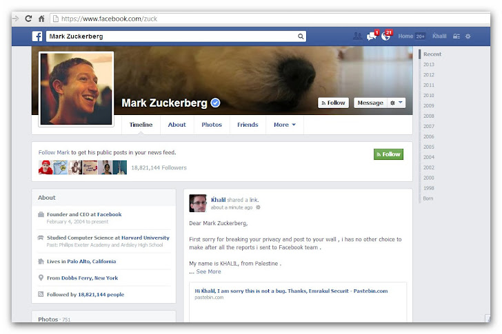 Palestinian Hacker posted vulnerability details on Mark Zuckerberg's Timeline