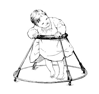 baby image walker illustration vintage
