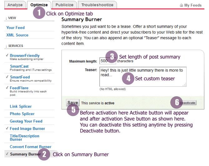 Feedburner Optimize Summary Burner