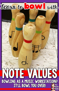 Note Value Bowling is a fun music workstation that reinforces note values and causes lots of smile!  Use a toy bowling set and the free Note Value Bowling score sheets to bowl your students over to reading music!