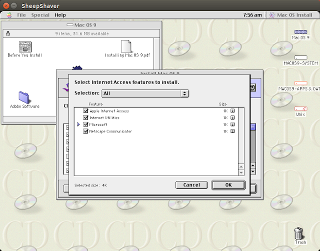 "Supratim Sanyal's Blog: Mac OS 9 Customized Installation Example: Selecting ""All"" Internet Access Features"