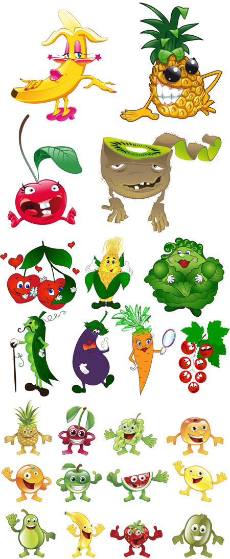 Quality Graphic Resources Cartoon Vegetables And Fruits