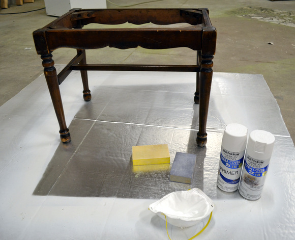 Wooden bench base with rustoleum primer white spray paint sanding blocks