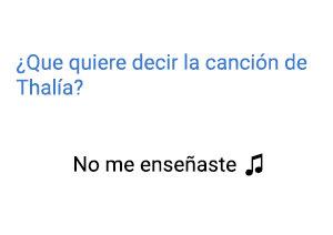 Significado de la canción No Me Enseñaste Thalía.