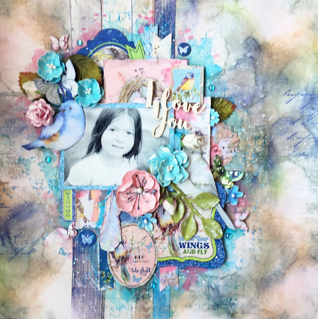 Scraps of Elegance scrapbook kits: pink and blue mixed media layout w/our June Birds of a Feather kit, by Annie Carignan.