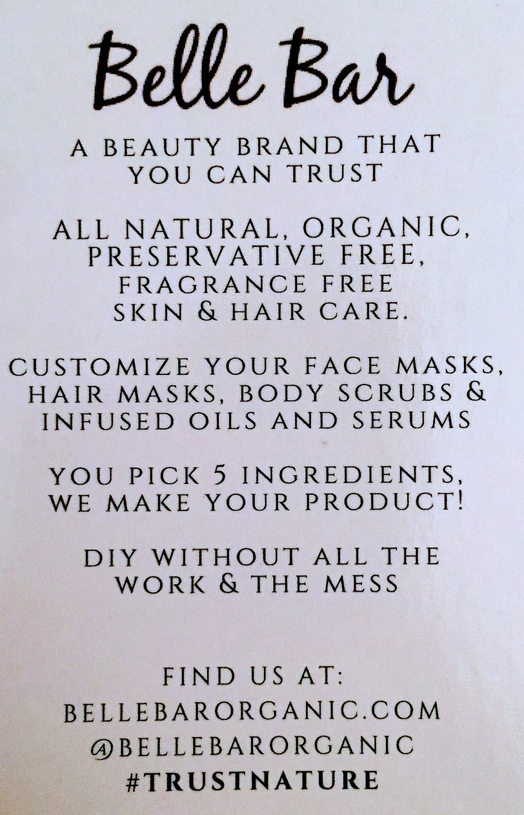 BelleBar Organic All Natural Customized Skin and Hair Care