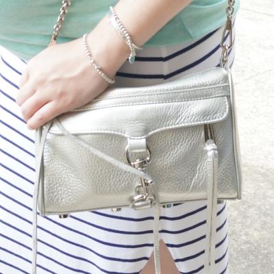 AwayFromTheBlue | Rebecca Minkoff metallic silver mini MAC Tiffany silver bracelet stack