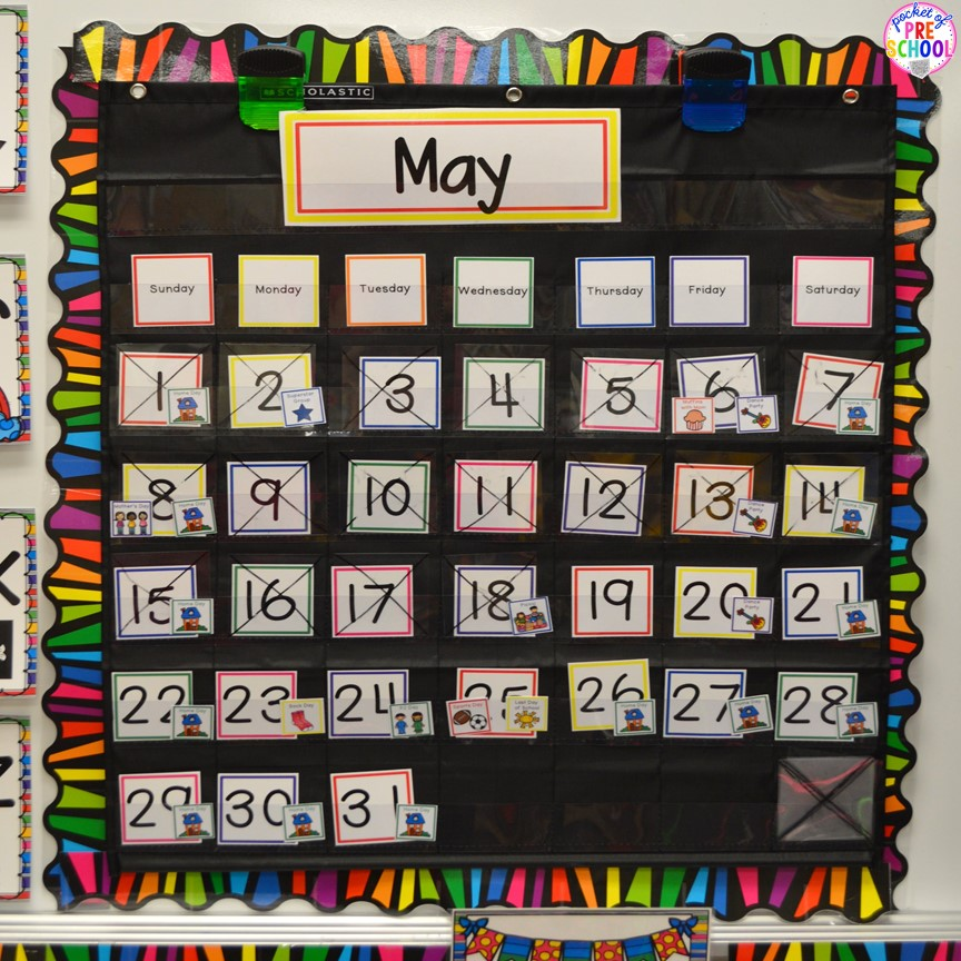 How to Make and Implement a Linear Calendar - Pocket of Preschool