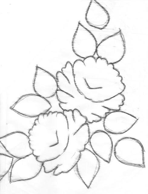 pintura em tecido risco de rosas