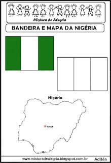 Bandeira e mapa da Nigéria