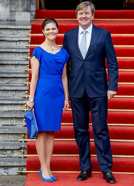 Crown Princess Victoria wore an Electric Blue Escada Virgin Wool Dress and carried Stella McCartney Clutch Bag for event