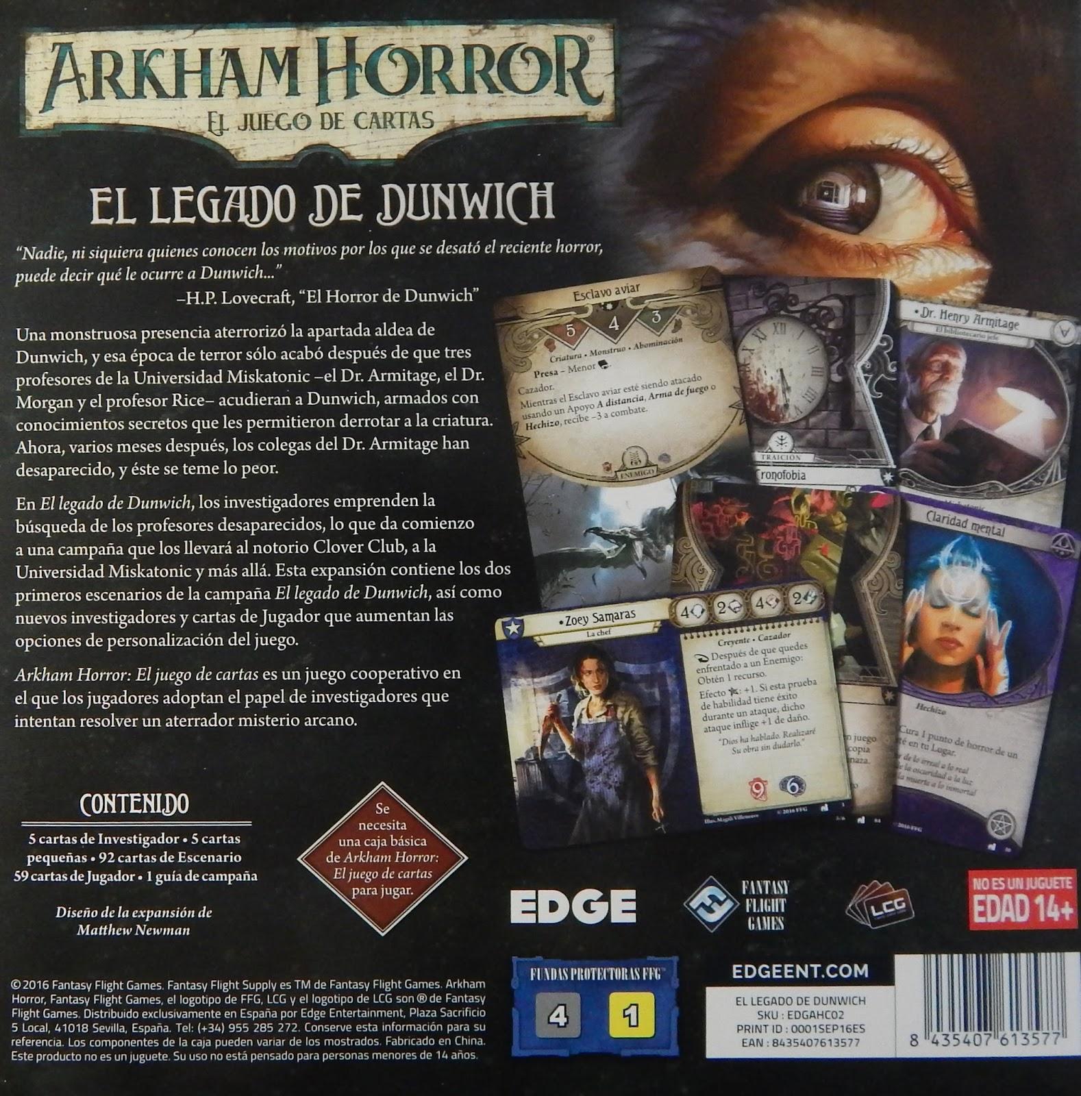 Susurros desde la Oscuridad: Arkham Horror, el juego de cartas: El ...