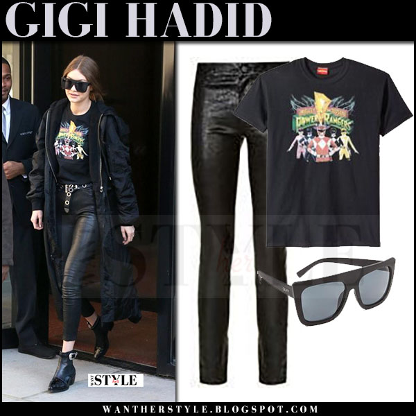 Gigi Hadid in black print t-shirt power rangers, black leather pants and black sunglasses quay cafe racer what she wore march 2017