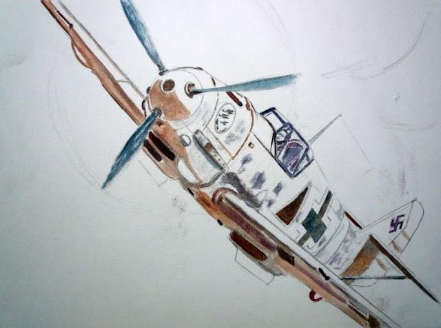 Boceto bf-109 Escuadrilla Azul