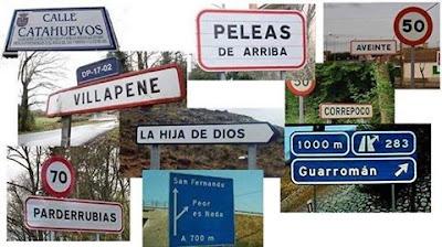 Pueblos, nombres divertidos, señales de tráfico
