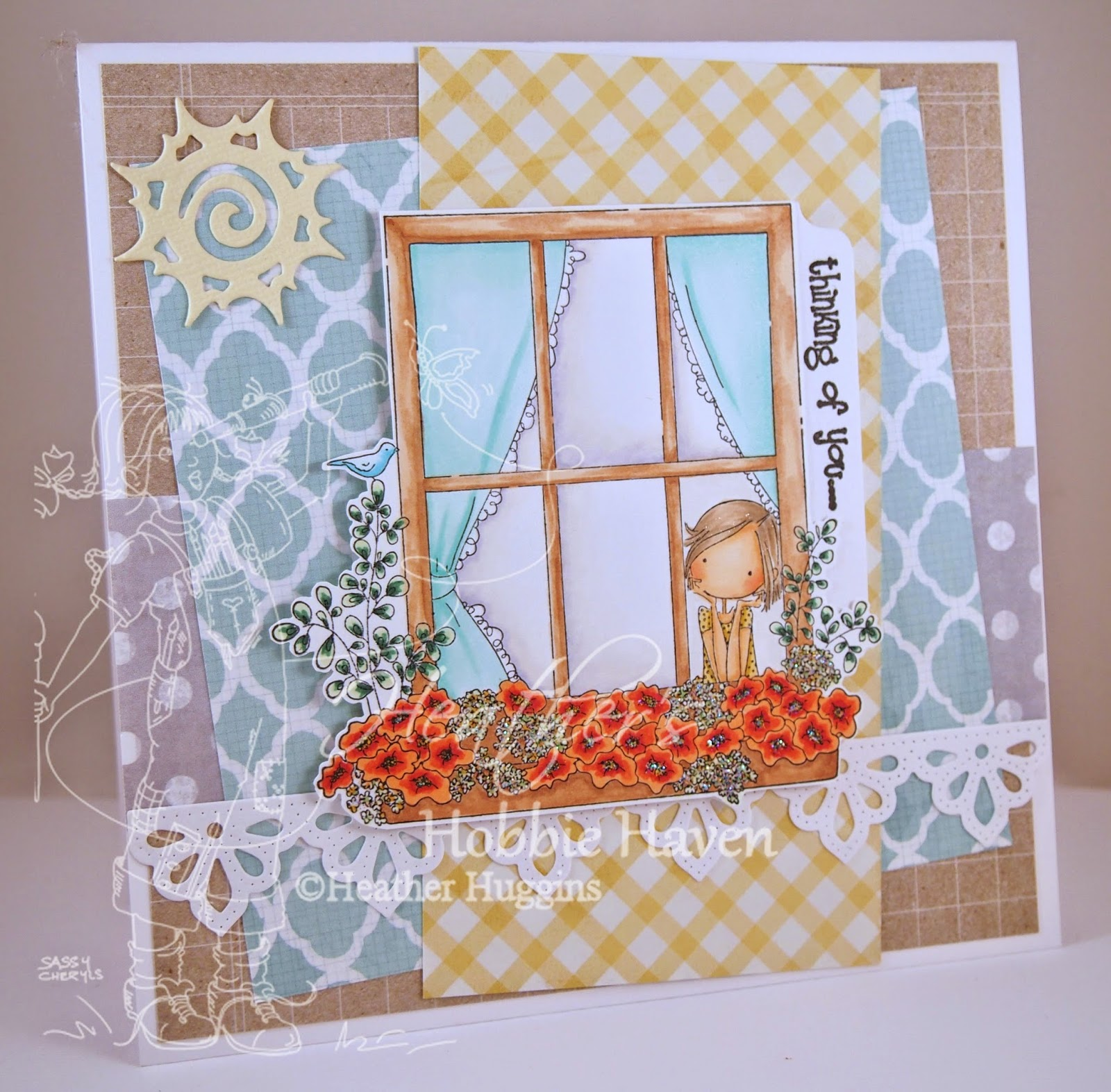 Heather's Hobbie Haven - Winnie Peeking Out the Window Card Kit