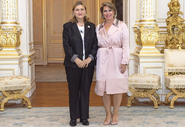 Duchess Maria Teresa received Jadranka Milicevic who is a Bosnian human rights women activist at the Grand Ducal Palace of Luxembourg