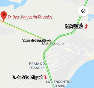 situado entre macio. marechal e barra de são miguel, mais precisamente as margens da AL-215, Marechal Deodoro - AL