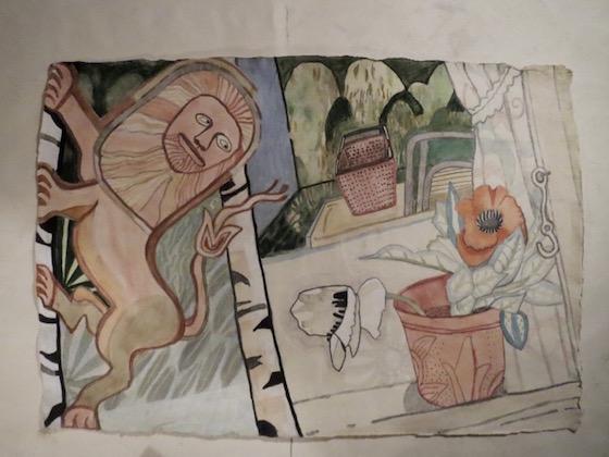 Helle Baslund: Norsk løve i vindueskarm. Akvarel, 70 x 100 cm.