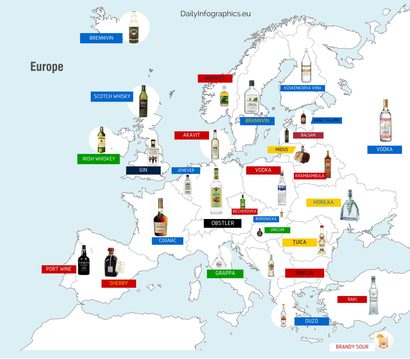 Map of Europe's national liquors