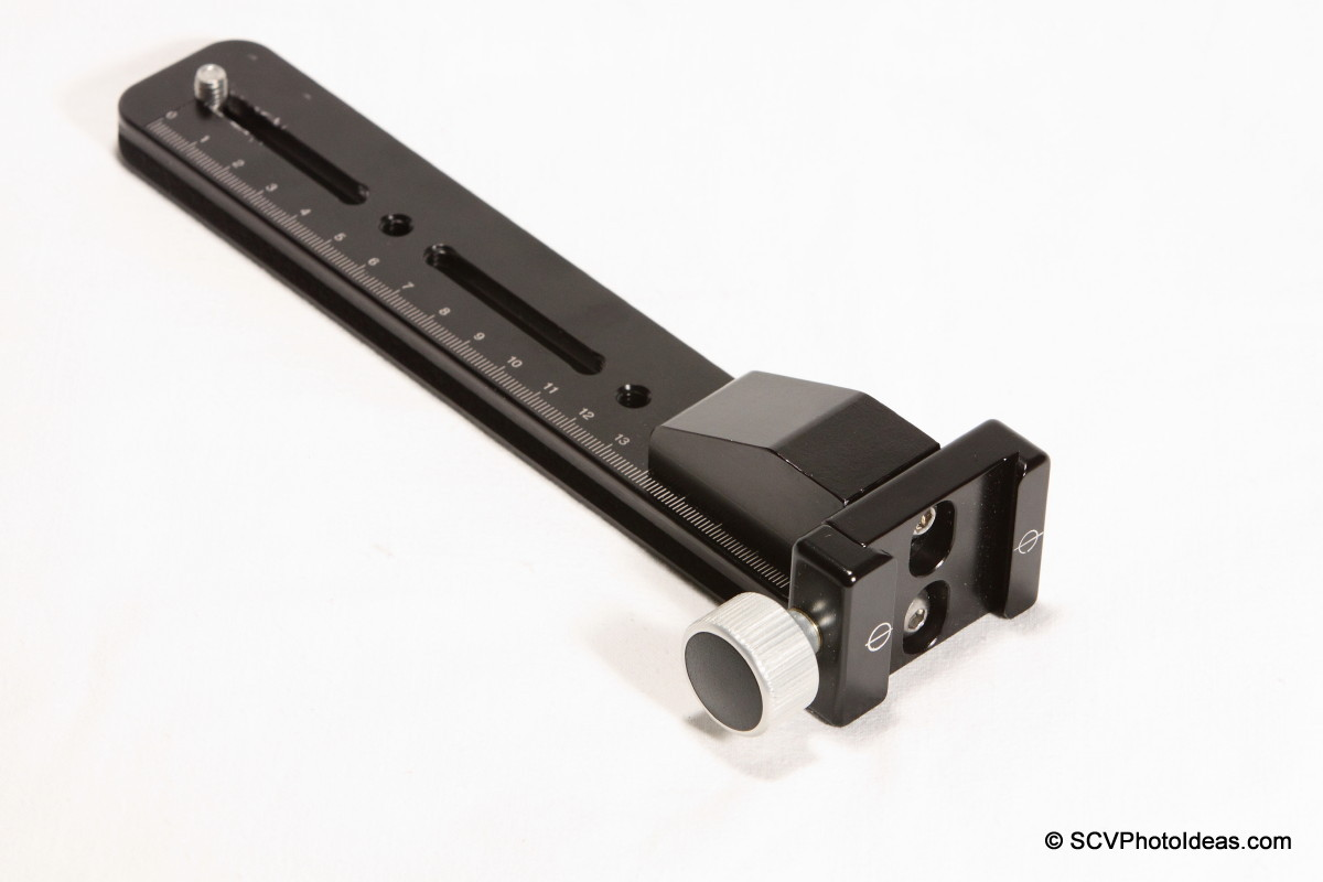 Hejnar Photo F69 QR clamp attached on G103 block+G10-80 rail - full view