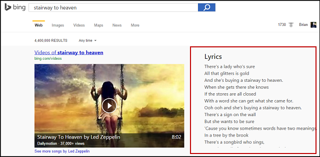 Update on bing search