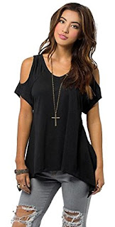 buy urban coco women's vouge shoulder off wide hem design t shirt