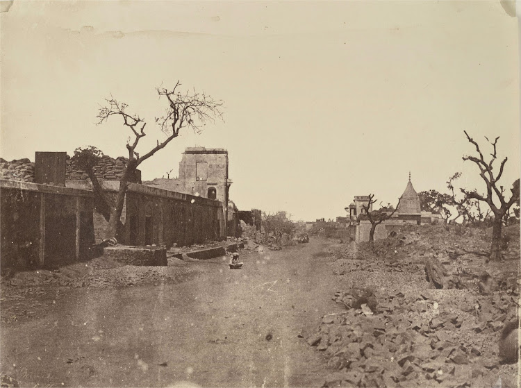 Group of Damaged Buildings in Subzi Mandi, Delhi during Indian Mutiny of 1857 - Photographed in 1858