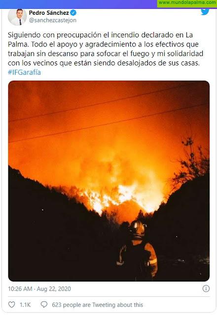 El Presidente Pedro Sanchez manda desde su Twitter un mensaje de apoyo a La Palma