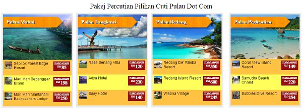 Pakej Percutian ke Pulau