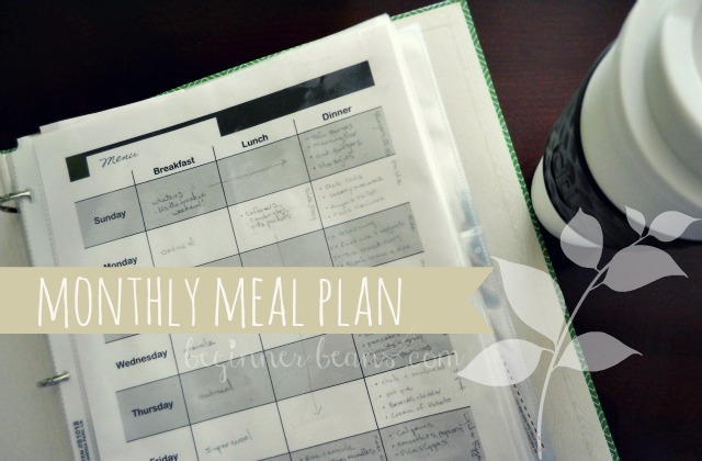 community meal-planning monthly menu