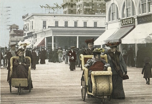 Photo of wheelchair users in Atlantic City, 1898