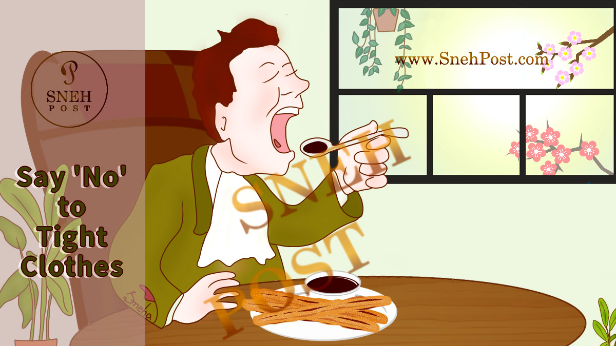 Unhealthy practice and bad habit of having meal in tight clothes: An illustration of a man eating food in tight clothes with a spoon on a round table with all table manners and etiquettes like using napkin to cover the coat; plants and flowers peaking through the window behind