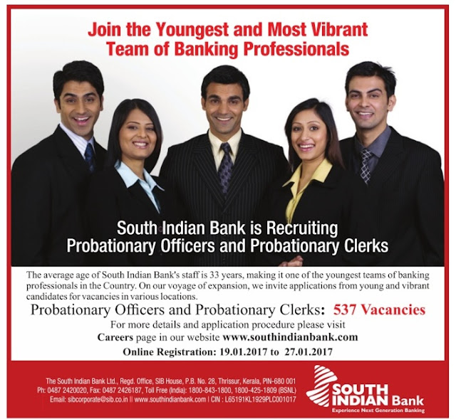 Naukri vacancy recruitment in South Indian Bank SIB