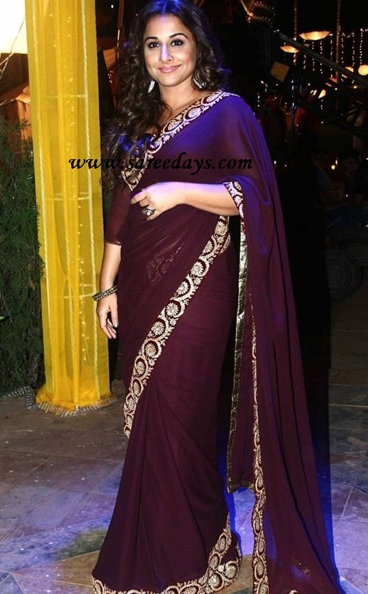 Latest saree designs vidya balan in brown designer saree checkout bollywood actress vidya balan in brown designer saree with work border and paired with long sleeves blouse altavistaventures Image collections
