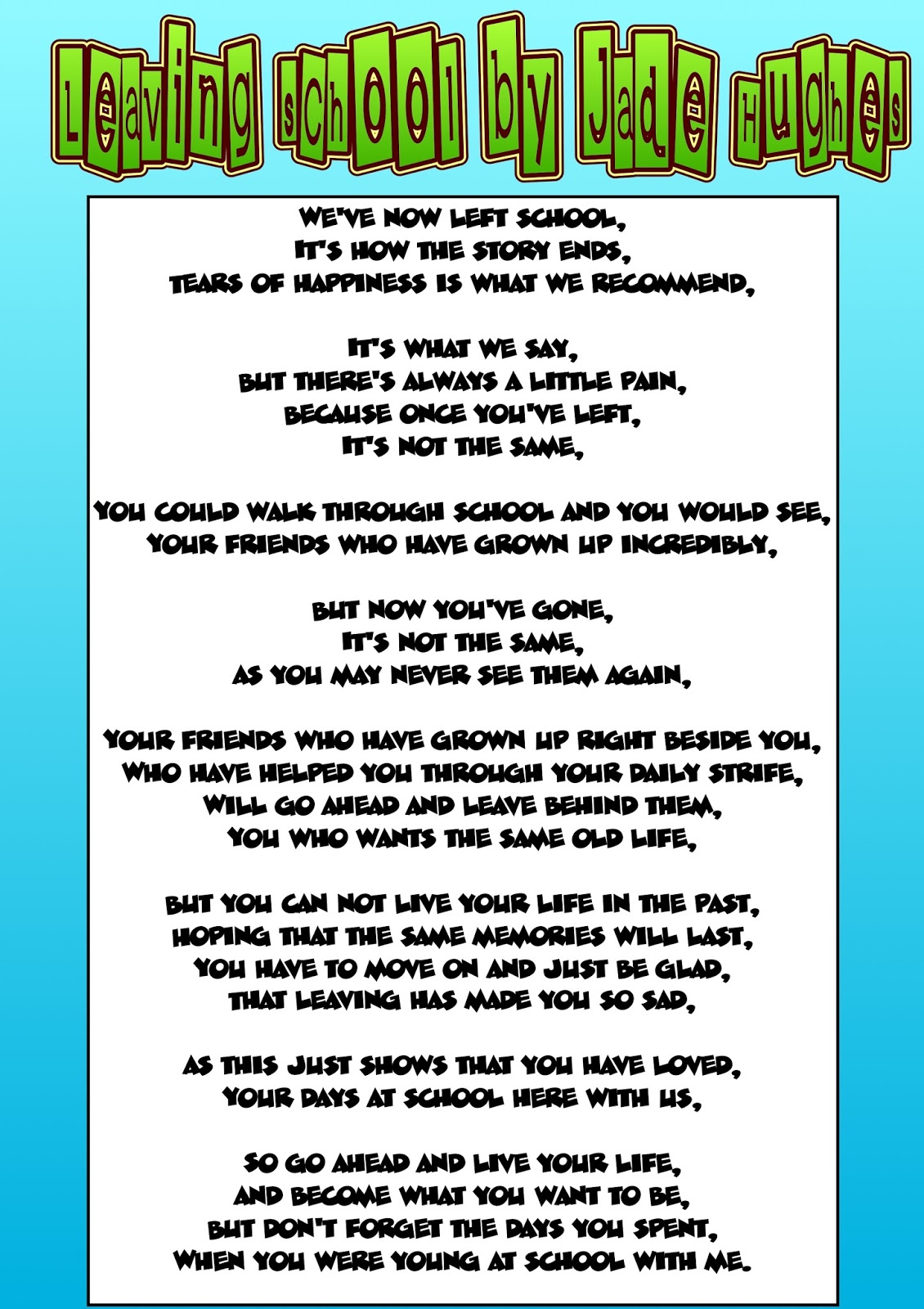 A Lovely Poem for Your Leavers Assembly