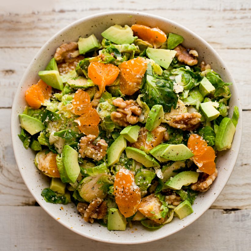 Wilted Maple-Citrus Brussels Sprouts Salad with Walnuts