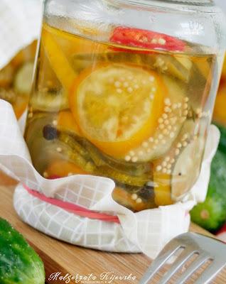 marynowane warzywa, ogórki w occie, przetwory z pomidorów, żółte pomidory, daylicooking, Małgorzata Kijowska