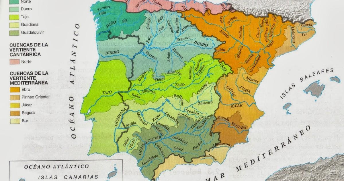 Vertientes Mapa Hidrografico De España.El Blog De Clase Mapa De Cuencas Hidrograficas Y Vertientes