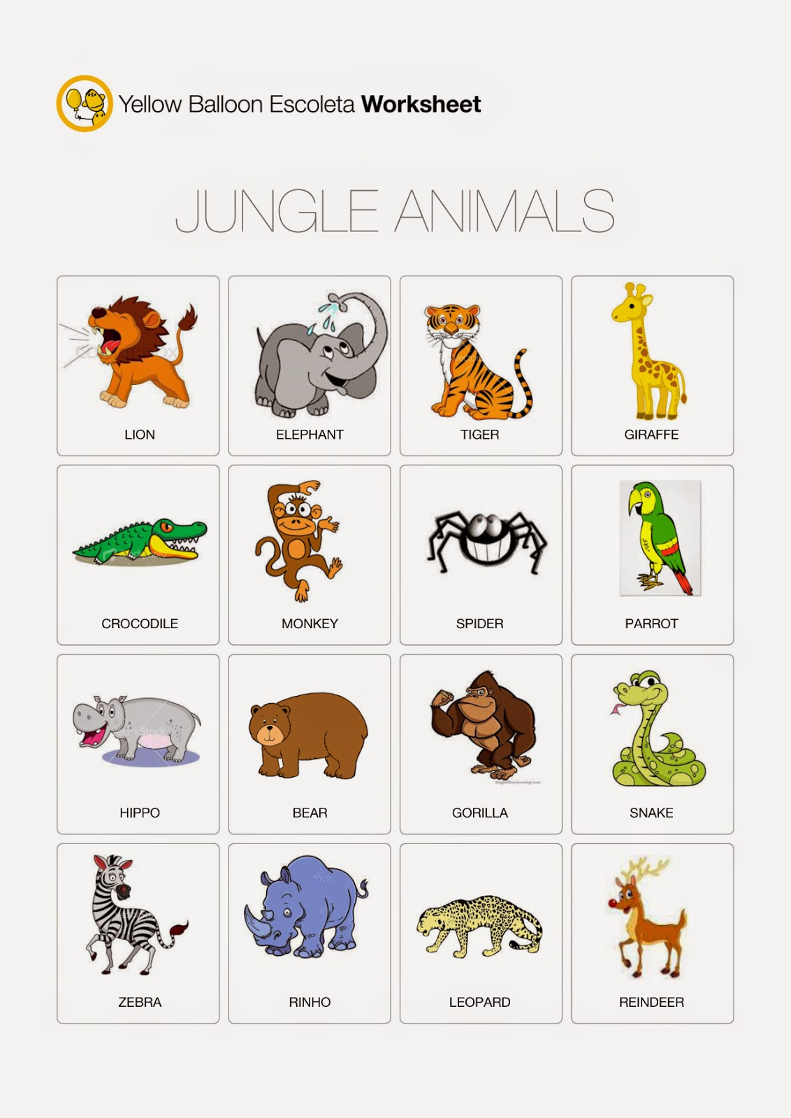 Yellow Balloon Escoleta Jungle Animals Worksheet